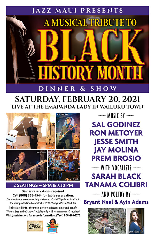 Jazz Maui Presents: A MUSICAL TRIBUTE TO BLACK HISTORY MONTH