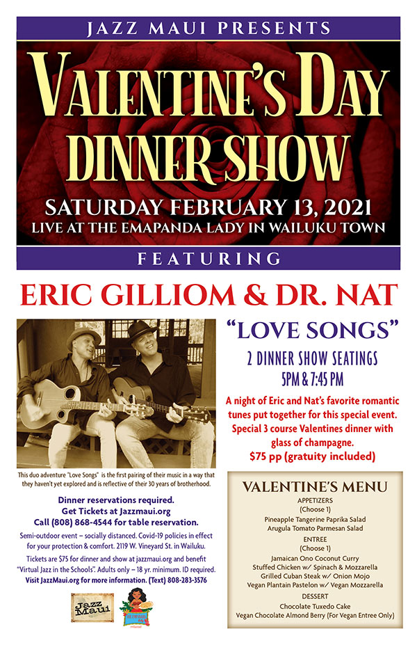 Jazz Maui presents A Valentine's Day Dinner Show