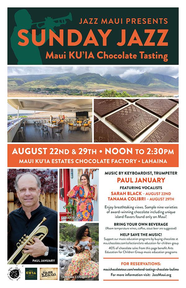Jazz Maui Presents: Sunday Jazz Maui KU'IA Chocolate Tasting